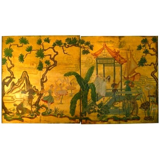 Vintage Mid-Century Hollywood Regency Chinoiserie Door Panel Wall Hanging For Sale