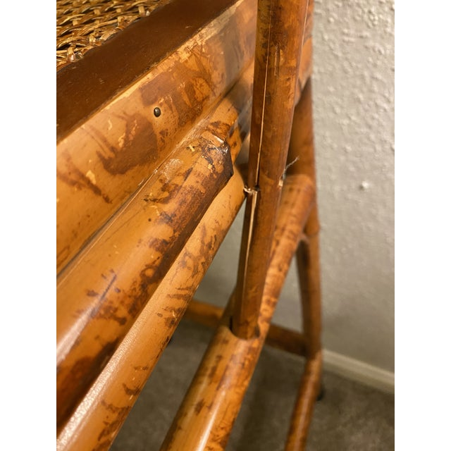 Wood 1970s Vintage Brighton Pavilion Bamboo and Cane Stools- a Pair For Sale - Image 7 of 10