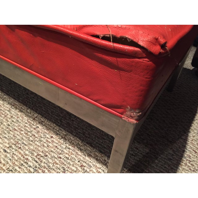 Mid-Century Modern 1960s Mid-Century Modern Florence Knoll Style Red Leather Chrome Bench For Sale - Image 3 of 10