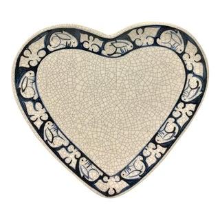 Artisan Ceramic Crackle Bunny Heart Plate