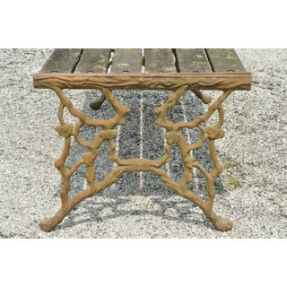 Antique Faux Bois Cast Iron French Victorian Wood Slat Garden Patio Bench Preview