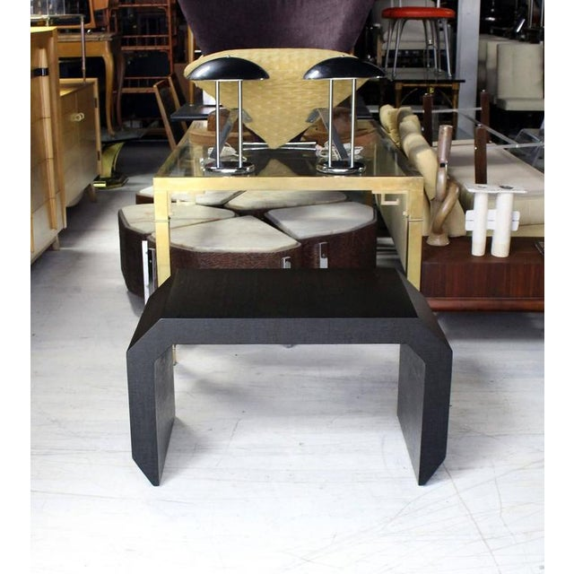 Mid-Century Modern Grass Cloth C Shape Coffee Table For Sale - Image 6 of 10