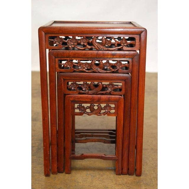Chinese Rosewood Stacking Tables Set Of 4 Chairish