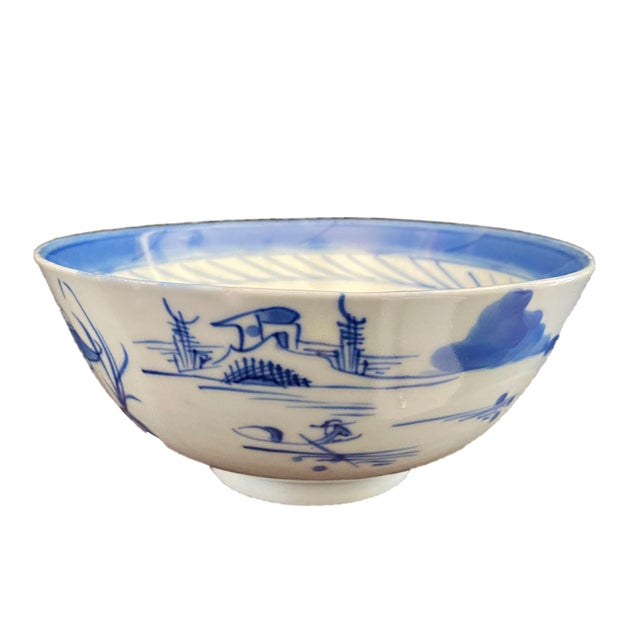 """19th Century 19th Century Chinese Canton Blue and White Porcelain Pagoda Motif Bowl 6"""" D For Sale - Image 5 of 9"""