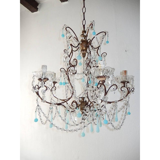 French Robins Egg Blue Opaline Beaded Chandelier, circa 1890 For Sale - Image 12 of 12