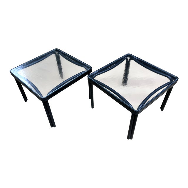 1960s Mid-Century Modern Brown Jordan Tamiami Kantan Black Metal Side Tables - a Pair For Sale