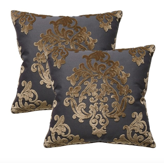 Robert Allen Royal Beauty Slate Pillows - A Pair For Sale - Image 5 of 5
