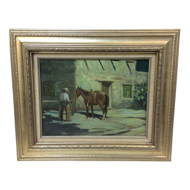 This is an unsigned vintage western themed oil painting of a cowboy bringing flowers. This painting appears to be cut...