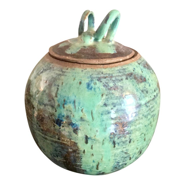 1960s Arts and Crafts Curly Handle and Mottled Glaze Iridescent Clay Pot For Sale