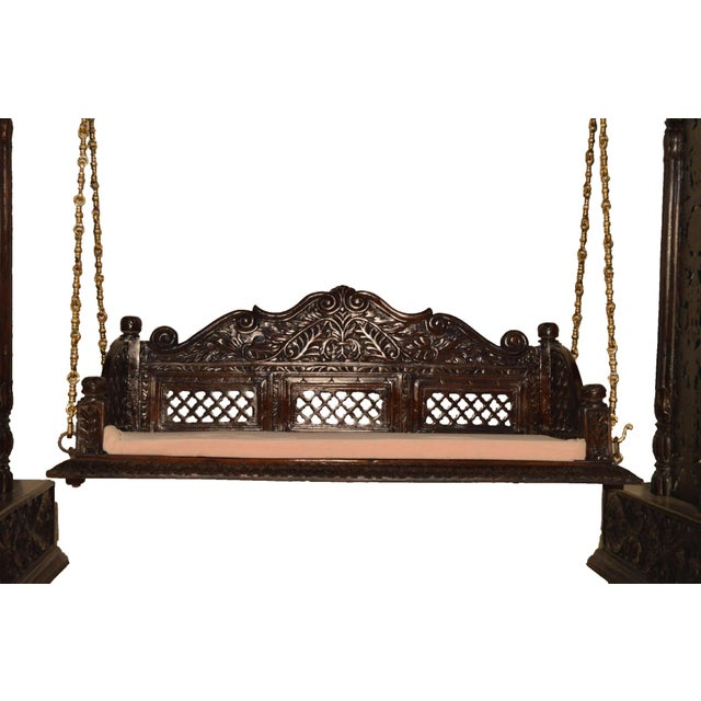 Religious Jali Flower Wooden Carved Royal Swing Set For Sale - Image 3 of 4
