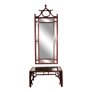 1950s Chinoiserie Pagoda Red Mirror For Sale