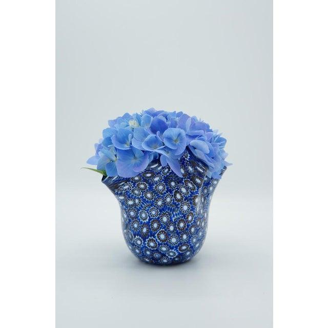 1980s Vintage Blue Murano Millefiori Handkerchief Vase For Sale - Image 5 of 13