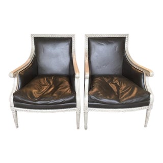 Neoclassical Leather Chairs- A Pair For Sale