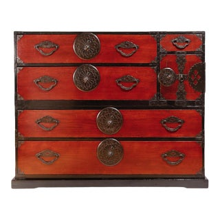 Antique Japanese Yonezawa 2-Section Clothing Chest For Sale