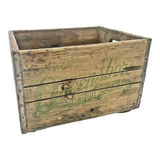 Vintage Industrial Queensboro NYC Wood Milk Crate