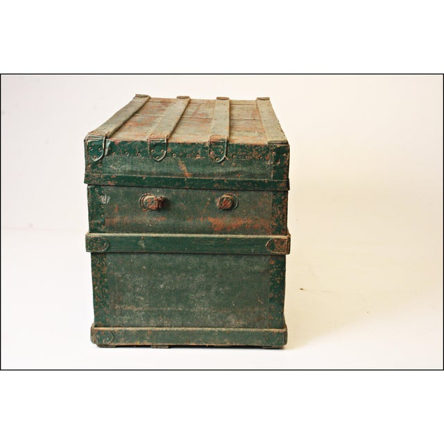Vintage Industrial Green Wood Steamer Trunk - Image 3 of 11