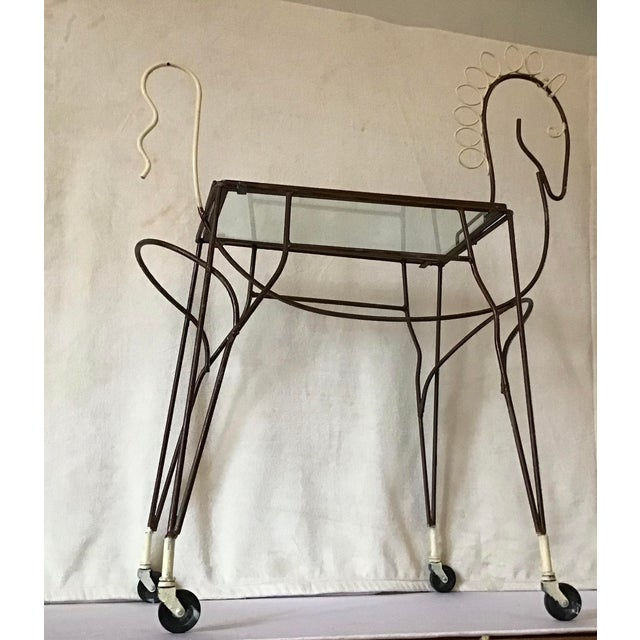 1950's Horse Pony Rolling Serving Bar Cart By Frederick Weinberg For Sale - Image 12 of 13