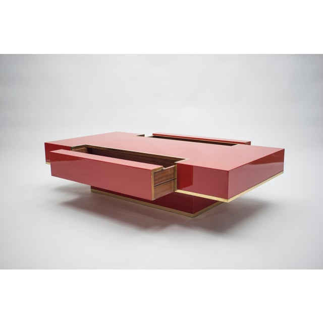 Rare j.c. Mahey Red Lacquer and Brass Coffee Table, 1970s For Sale - Image 6 of 13