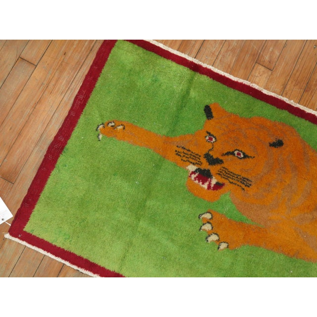 Green Angry Tiger Vintage Turkish Rug, 2'3'' X 4'6'' For Sale - Image 8 of 10