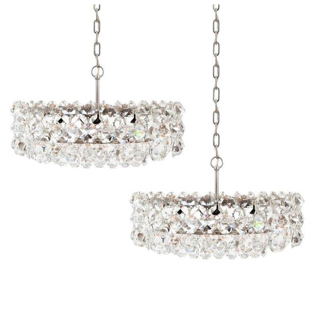 Silver Pair of Large Bakalowits and Sohne Vienna Drum Chandeliers For Sale - Image 8 of 8