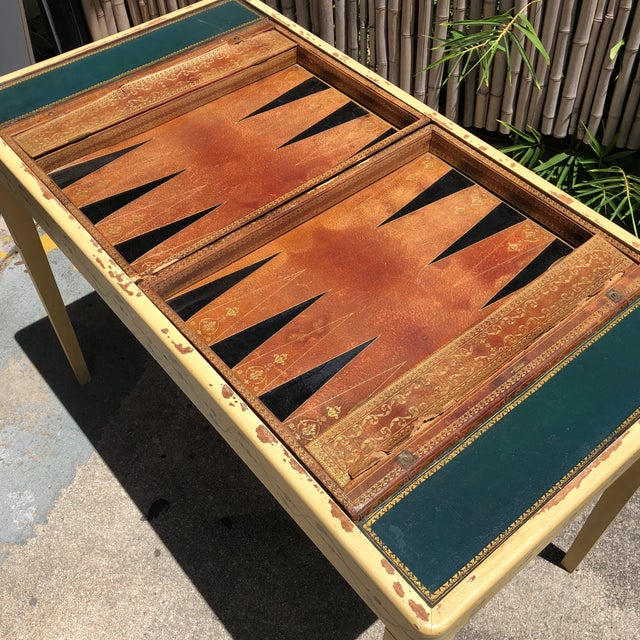 Animal Skin 20th Century Hollywood Regency Leather Bound Book Backgammon Table For Sale - Image 7 of 13