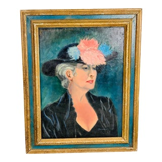 Vintage Mid-Century Portrait of a Woman Wearing Hat Signed & Framed Oil Painting For Sale