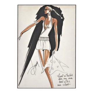 Rare Matted Original 1980's French Fashion Drawing Summer Beach Cruise Wear For Sale