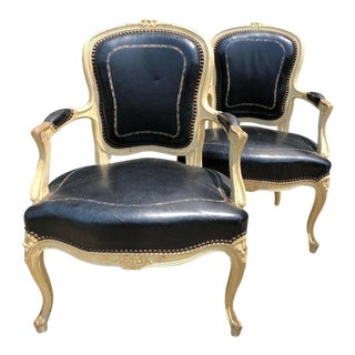 19th Century Louis XVI Leather Embossed Fauteuils - a Pair