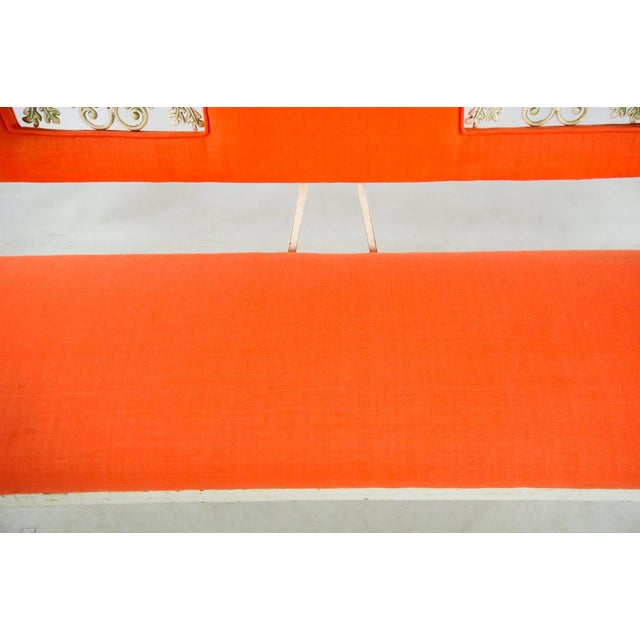 Fabric Hollywood Regency Orange and White Iron Benches - a Pair For Sale - Image 7 of 13