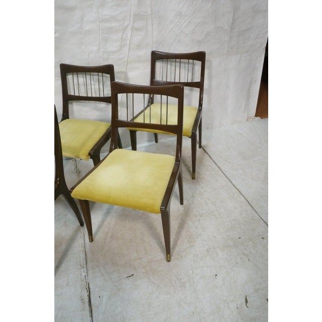 Altavista Lane Set of 6 Lane Mid-Century Modernist Walnut Dining Chairs W Metal Rods and Brass Sabots For Sale - Image 4 of 9