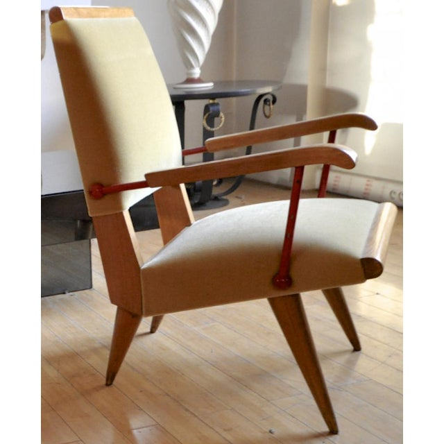 Contemporary Louis Sognot Awesome Rare Set of 4 Lounge Chairs With Red Lacquered Wrought Iron For Sale - Image 3 of 7