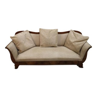 Swedish Antique Biedermeier Sofa W Raised Diamond Pattern Pearl Upholstery and Pillows For Sale