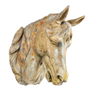 French Gilded and Painted Zinc Horse Head For Sale