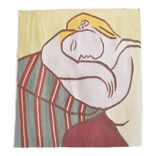 Picasso - Woman With Yellow Hair Inspired Hand Woven Area Rug Wall Rug Kilim - 4′6″ × 5′ For Sale
