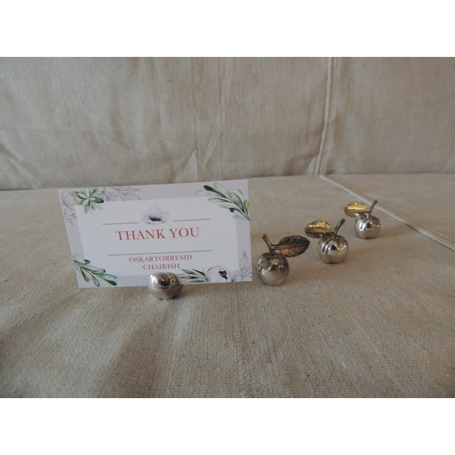 Hollywood Regency Vintage Stainless Steel Dinner Table Place Card Holders For Sale - Image 3 of 5