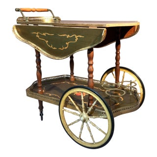 1950s French Marquetry Rosewood and Brass Drop Leave Bar Cart For Sale