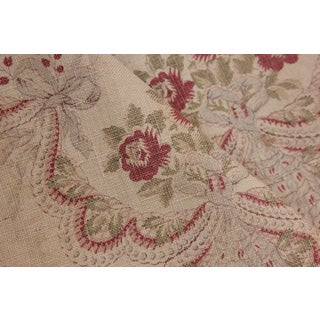 Fabric Vintage Printed Linen Curtain C 1900 French Faded Floral Cranberry Red For Sale