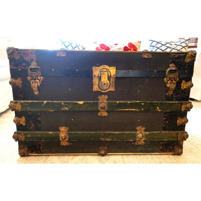 Rustic Antique Endebrock Trunk Co Dark Green Railway Travel Trunk With Brass For Sale - Image 3 of 13