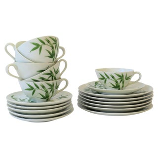 Set of 6 White and Green Porcelain Tea or Coffee Set With Bamboo Design For Sale