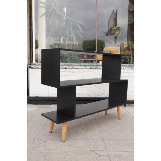 Mid-Century Modern Ebonized Oak Zig-Zag Bookcase For Sale - Image 12 of 13