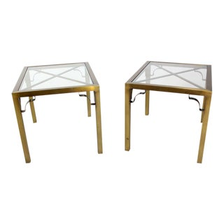 Pair of Mid-Century Modern Cross Brass Base and Glass-Top Side or End Tables For Sale