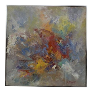 Mid Century Modern Abstract Soft Colors Silver Frame For Sale