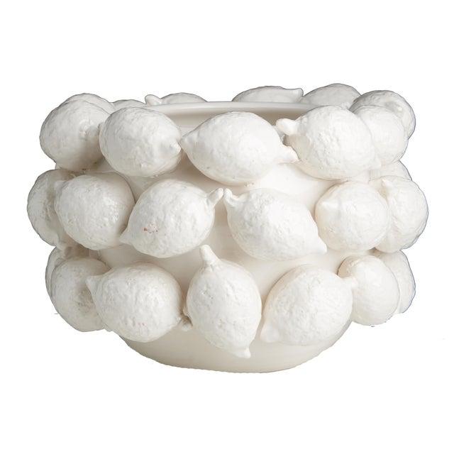 Contemporary Ceramic Lemon Planter, White For Sale - Image 3 of 3