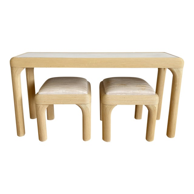 Pencil Reed Console With Two Coordinating Benches, S/3 For Sale