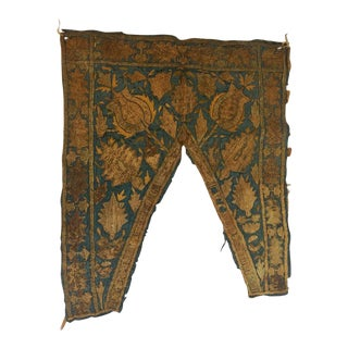 19th Century Ottoman Empire Persian Silver Metallic Threads Embroidered Textile For Sale
