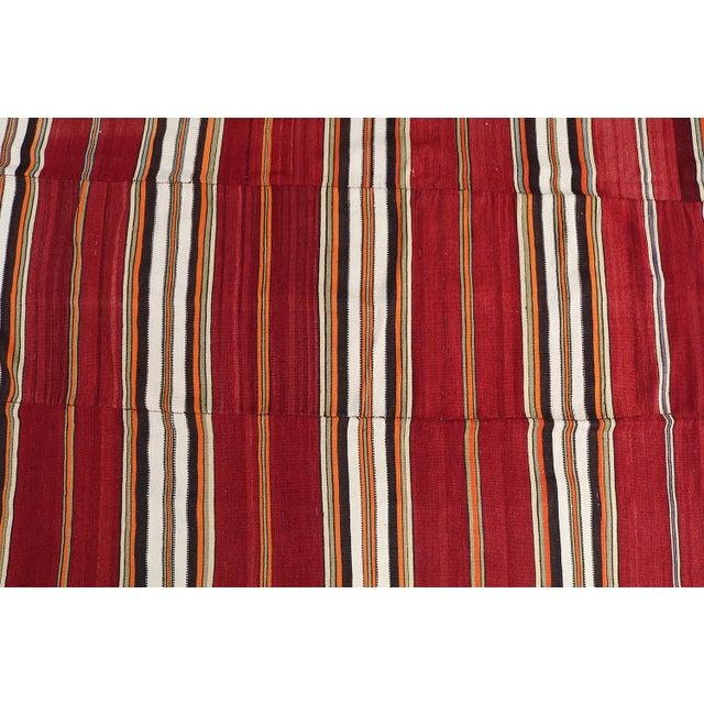 "Vintage Turkish Striped Nomadic Kilim - 5'1"" x 7'9"" - Image 2 of 3"