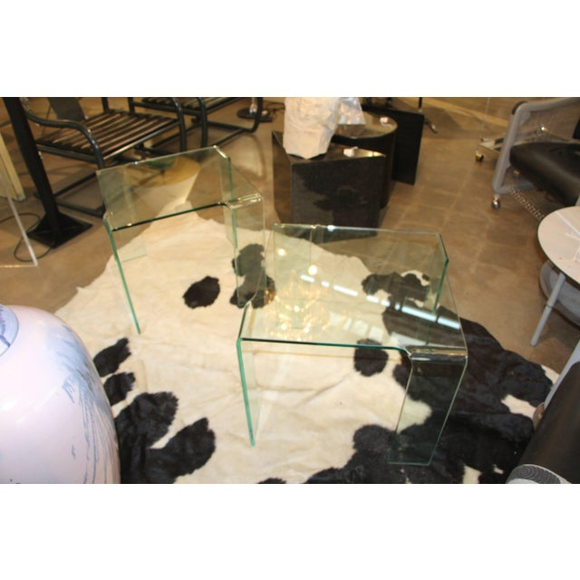 Glass 1980s Italian Glass Tables Attributed to Fiam - a Pair For Sale - Image 7 of 7