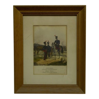 "Vintage 1860s Hand-Colored ""Hessen Darmstadt"" Framed & Matted Print For Sale"
