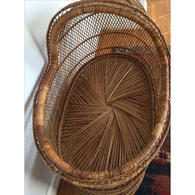 Vintage Bohemian Rattan Bassinet Crib - Image 6 of 6