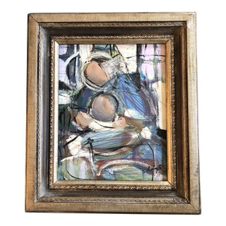 "Original Contemporary Stephen Heigh Abstract Painting ""Father & Child"" Vintage Frame For Sale"